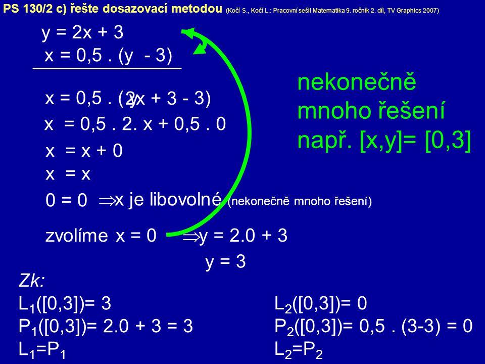 nekonečně mnoho řešení např. [x,y]= [0,3]